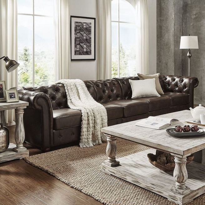 17 Attractive Brown Leather Living Room Furniture Ideas 07