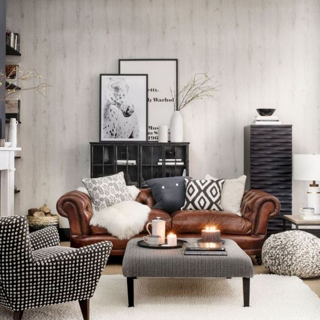 17 Attractive Brown Leather Living Room Furniture Ideas 37