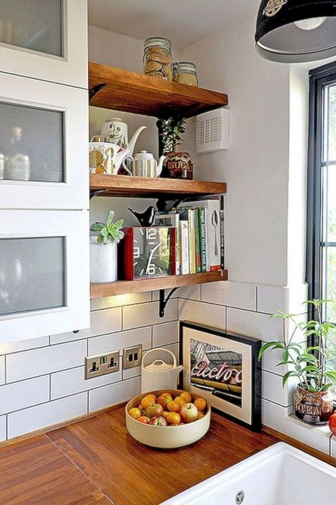 19 Clever Small Kitchen Remodel Open Shelves Ideas 08
