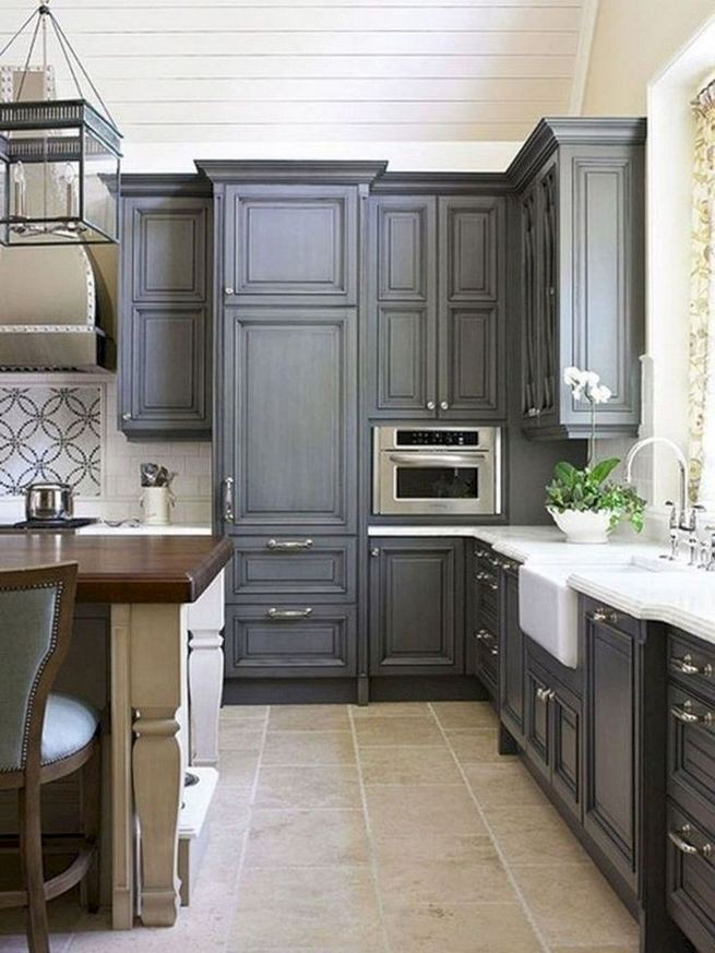 15 Incredible Farmhouse Gray Kitchen Cabinet Design Ideas 17