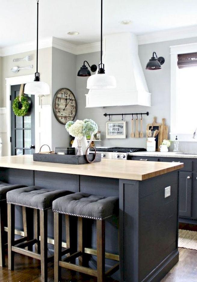 15 Incredible Farmhouse Gray Kitchen Cabinet Design Ideas 25
