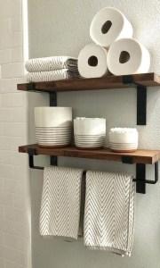 15 Models Bathroom Shelf With Industrial Farmhouse Towel Bar 02
