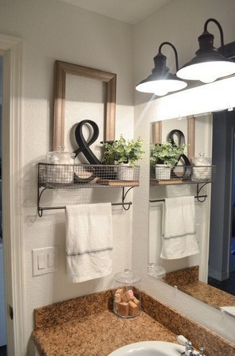 15 Models Bathroom Shelf With Industrial Farmhouse Towel Bar 10
