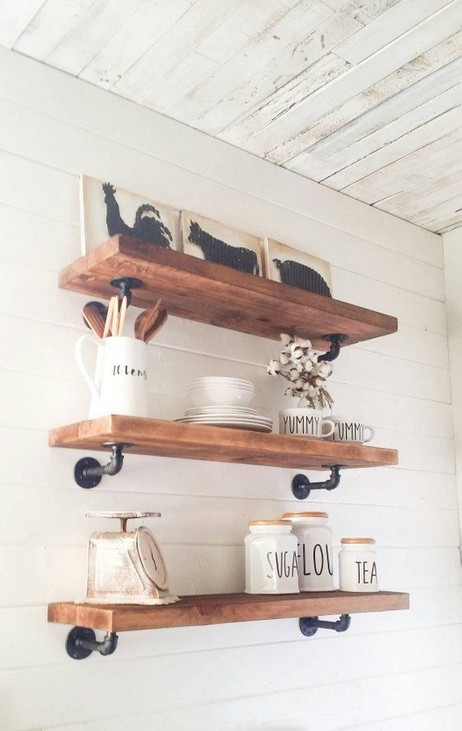15 Models Bathroom Shelf With Industrial Farmhouse Towel Bar 19