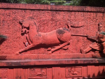 Horse carving at the nearby tomb museum.