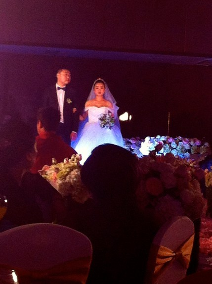 Exhibit B: Club lighting illuminating the bride's gown.