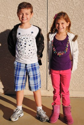 2nd Graders show off their 100s T-Shirts