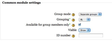 In this example the forum will only display for the 8L grouping