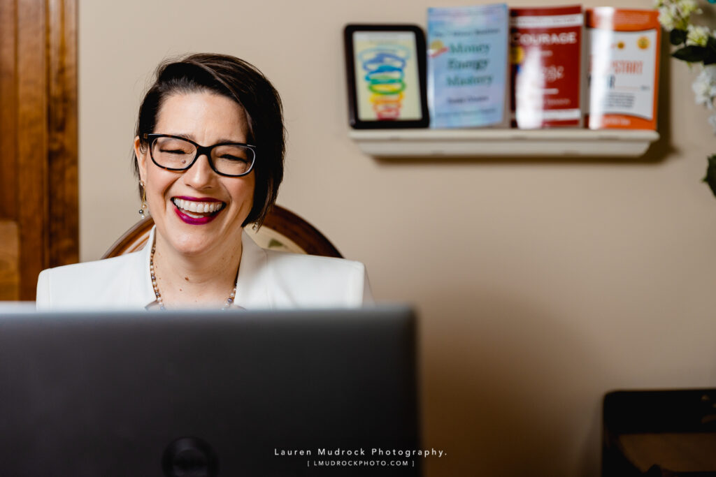 working at desk brand photography