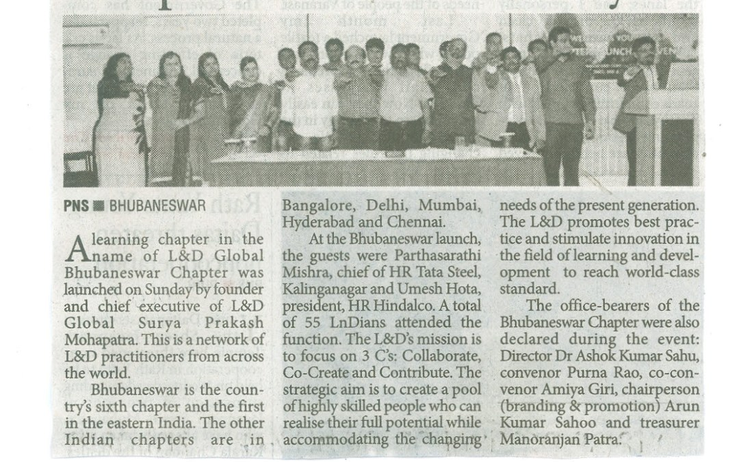 The Pioneer- 5th July- Inauguration of L&D Global Bhubaneswar Chapter