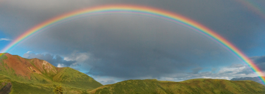 WHAT DOES THE BIBLE SAY ABOUT  WHAT THE RAINBOW REPRESENTS OR IS THERE A POT OF GOLD AT THE END ??