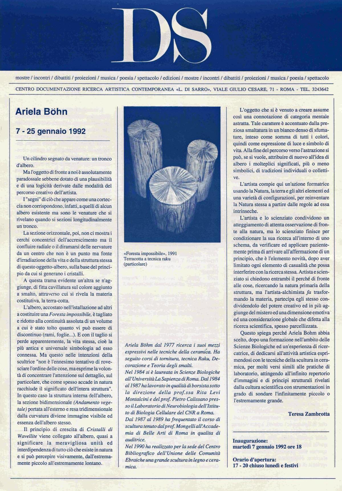 Ariela Bohm, Massimo Luccioli  7 - 25 gennaio 1992