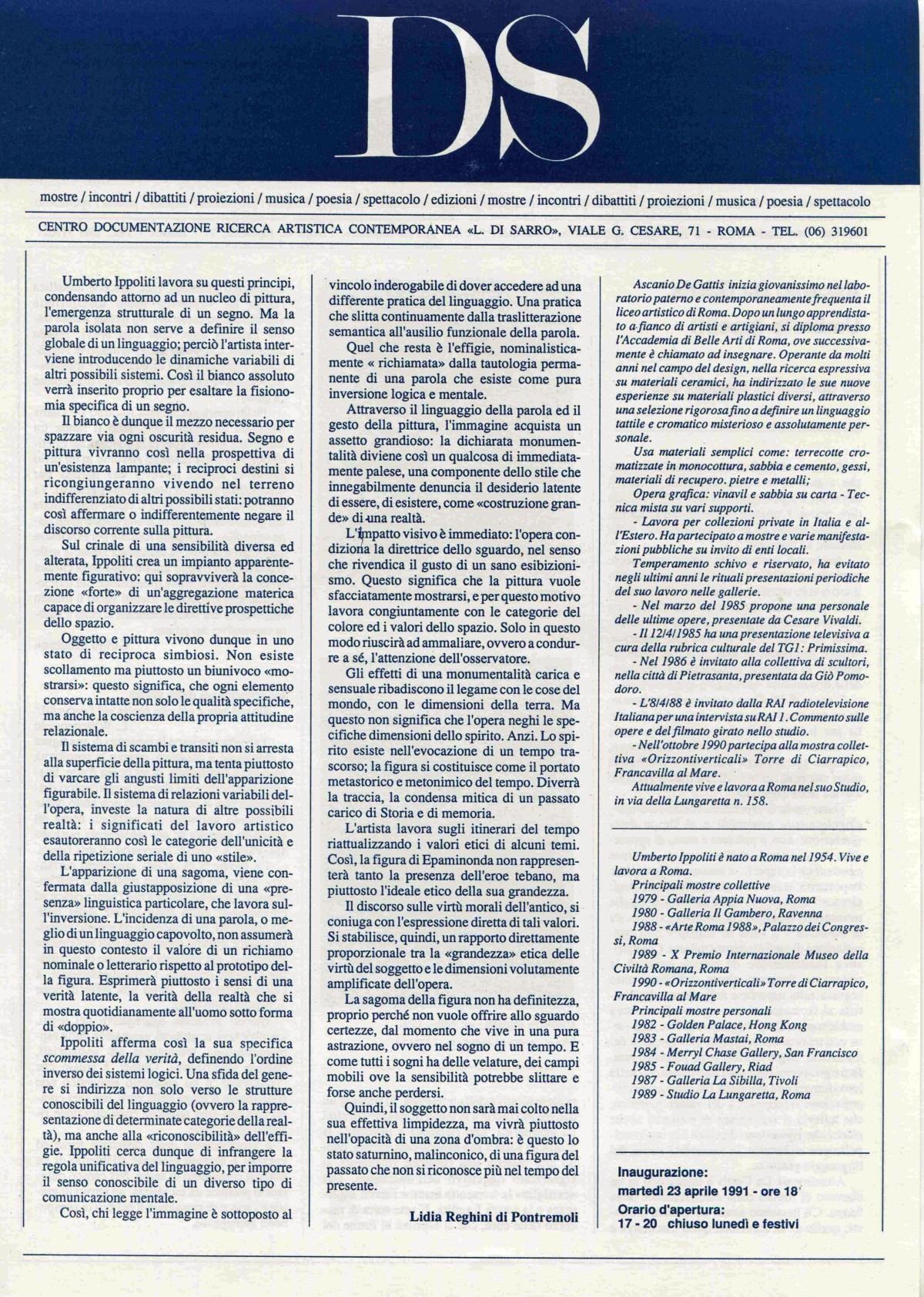 Ascanio De Gattis, Umberto Ippoliti 23 aprile - 11 maggio 1991