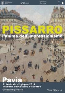 la locandina della mostra di Pissarro a Pavia