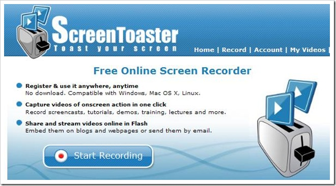 ScreenToaster, registra e pubblica le tue lezioni
