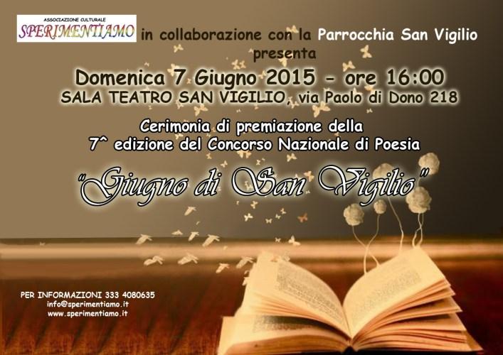 """Concorso Nazionale di Poesia """"Giugno di San Vigilio 2015"""""""