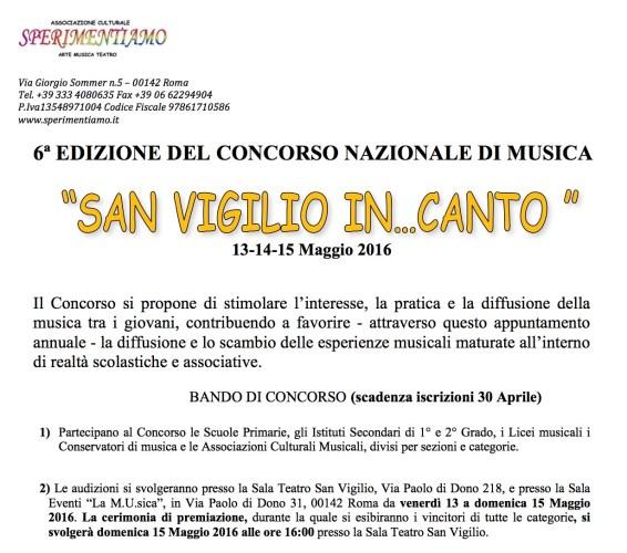 """Concorso Nazionale di Musica """"San Vigilio In...Canto 2016"""""""