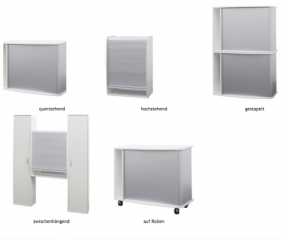 Sliding door file cabinet (stackable and lockable) - 5 Funktional