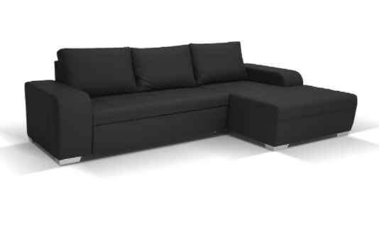 Denver Corner Sofa Black Leather 17PO48878/2 D 05 01 2 Pakete