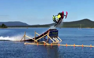 First Snowmobile Backflip on Water and It's HUGE!