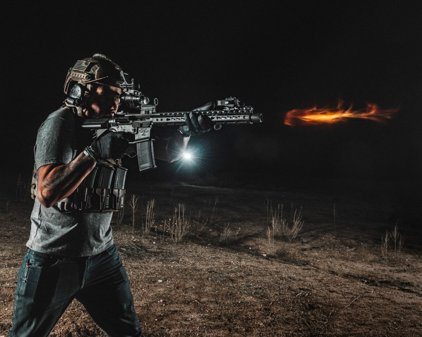 Photo of the day: Staff writer Nick Betts on set with Noveske rifle works at Area 20 Ranch
