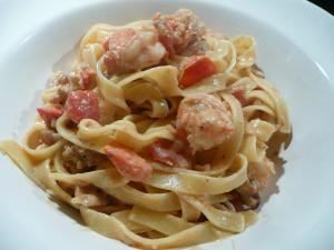 tagliatelle with prawns, brandy and cream