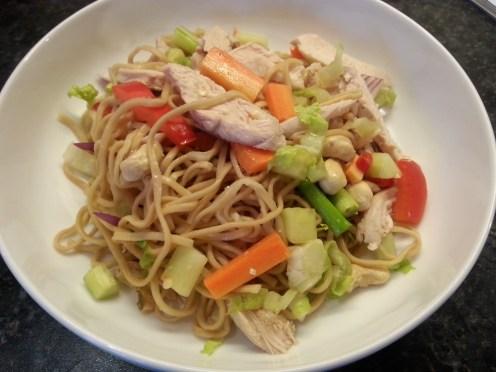 thai chicken and prawn noddle salad