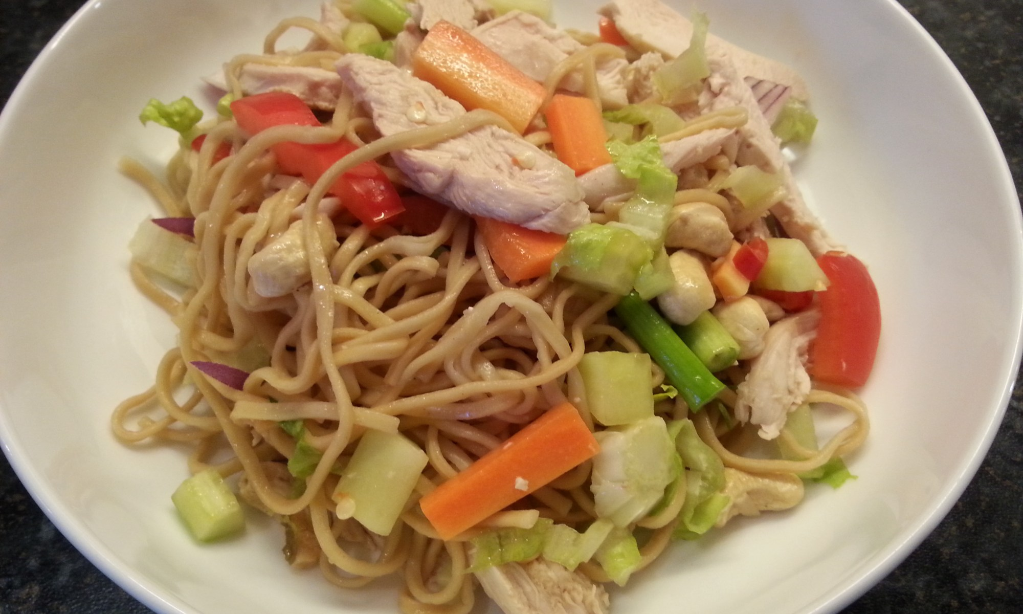thai chicken and prawn noddle salad