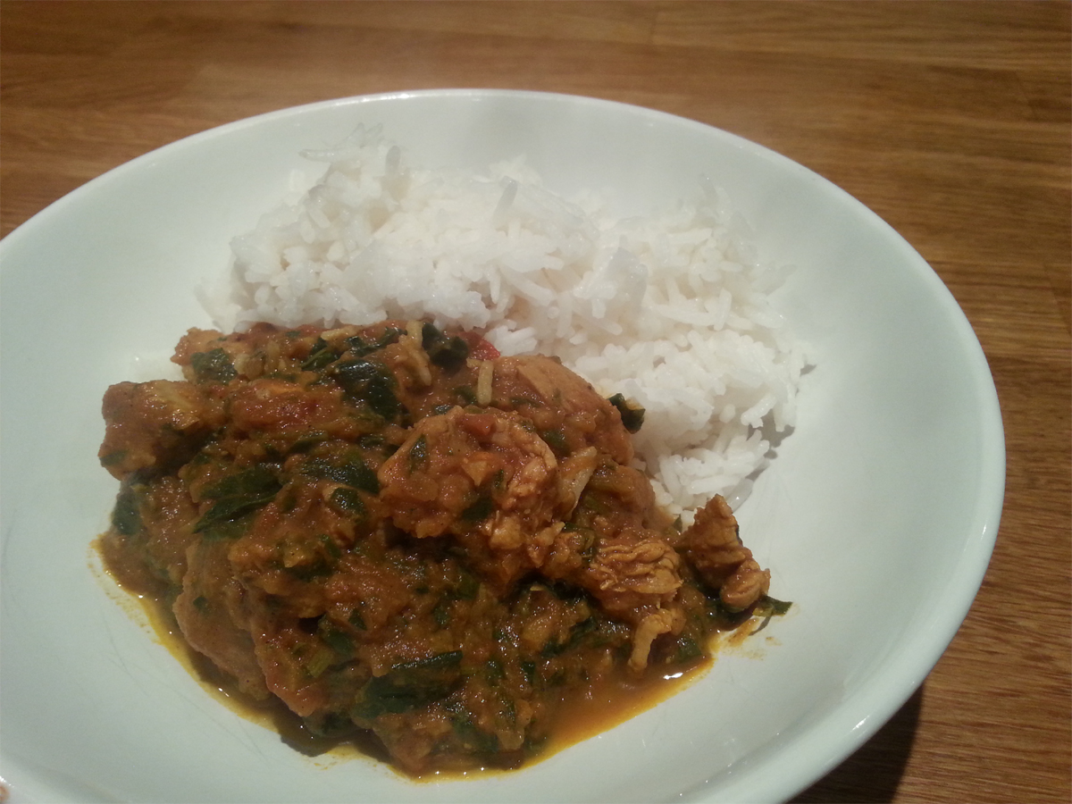 Lamb and spinich karahi (using chicken!)