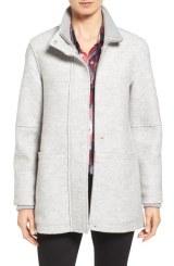 Halogen Zip Front Stand Collar Coat