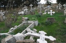 Desecrated cemetery in Lapithos, in the occupied north of the Republic of Cyprus.