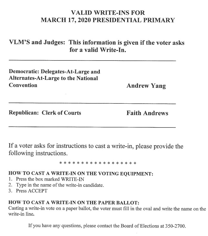 Write in Candidates for March 17 election