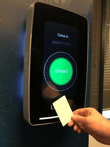 Employee Using RFID Card Reader Through LobiBox To Gain Access