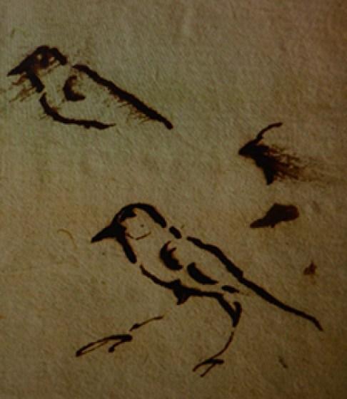 Pruebas de tinta realizadas por el escribano en uno de los márgenes. Foto: Ayuntamiento de Alicante.