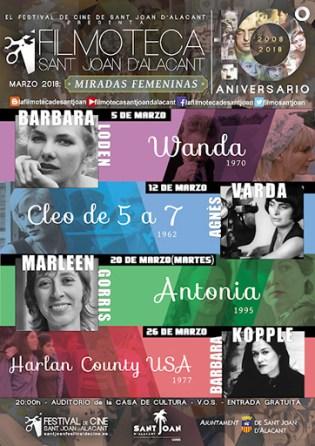 """Cartel Ciclo """"MIRADAS FEMENINAS"""" en la Filmoteca Sant Joan d´Alacant"""