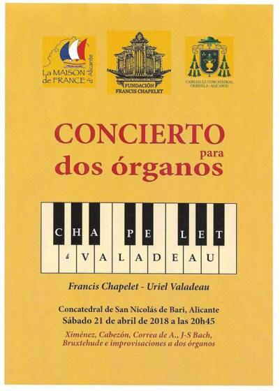 Cartel Concierto para dos órganos Chapelet & Valadeu