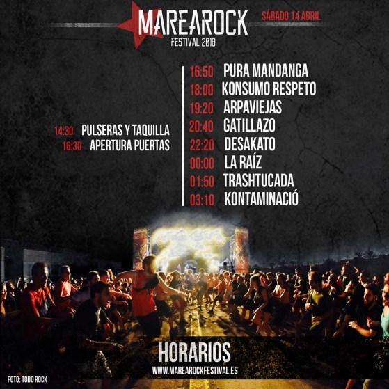 Cartel horarios Marearock 2018