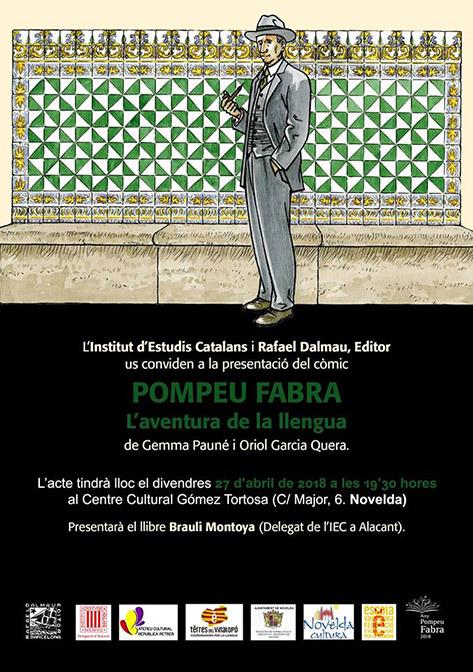 """Cartel presentación del cómic """"Pompeu Fabra. L'aventura de la llengua"""""""