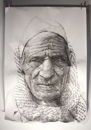 """Chitwan shepherd"". Charcoal on wrinkled paper (190 x 135 x 14 cm)"