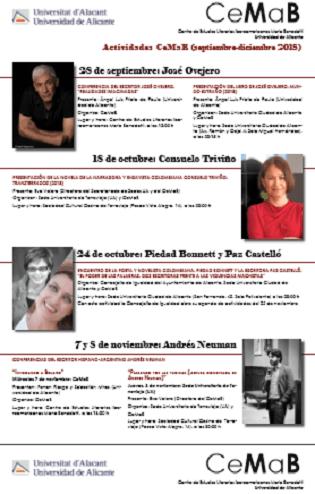 Las escritoras y escritores, Consuelo Triviño, Piedad Bonnet, Paz Castelló, Andrés Neuman y José Ovejero en la nueva programación del CEMAB