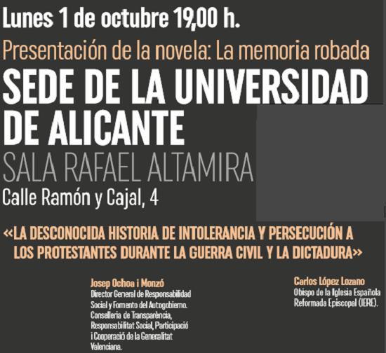 Andrés Rodríguez presenta su novela «La memoria robada» en la Sede Ciudad de Alicante