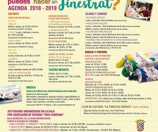 """Finestrat lanza la campaña """"QUÉ PUEDES HACER EN FINESTRAT"""" con toda la oferta deportiva, educativa y artística de la localidad para el curso 2018-2019"""