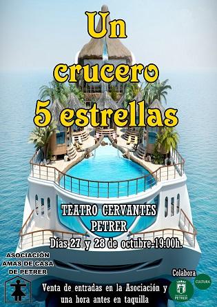 """""""Un crucero 5 estrellas"""" atracarà en el Teatre Cervantes de Petrer els dies 27 i 28 d'octubre"""