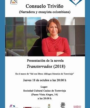 """La escritora colombiana Consuelo Triviño presenta su última novela """"Transterrados"""" en Torrevieja"""
