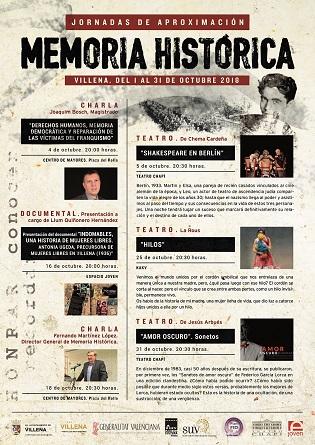 Charlas, teatro y un documental en las Jornadas de Aproximación a la Memoria Histórica de Villena