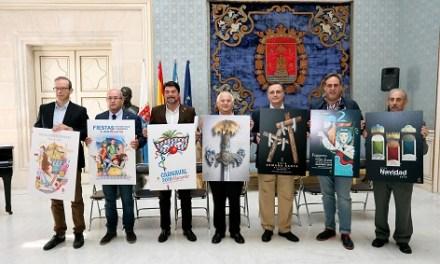 El alcalde de Alicante, Luis Barcala, hace públicos los carteles anunciadores de las siete fiestas de Alicante en 2018-19