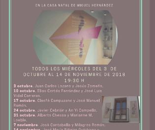 José Vegara Durá y José María Piñeiro Gutiérrez  clausuran este próximo miércoles en la casa natal de Miguel Hernández el II Ciclo de Poesía