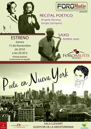 """""""Poeta en Nueva York"""" de Federico García Lorca se `estrena´ hoy 15 de noviembre en la Sala Llevant de l´Auditori de la Mediterrània"""