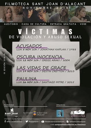 Filmoteca Sant Joan d´Alacant programa un cicle dedicat a les víctimes de violació i abús sexual
