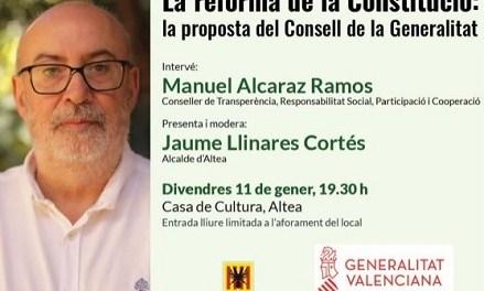 """El conseller Manuel Alcaraz tratará en Altea """"La reforma de la Constitució: la proposta del Consell de la Generalitat"""""""